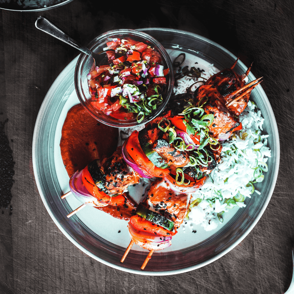 Turkish Kebabs with Tomato and Olive Salsa